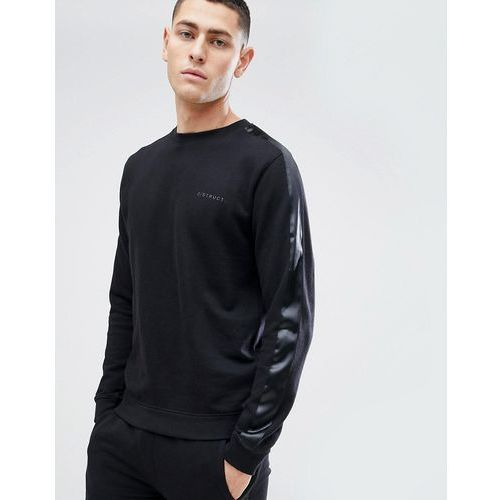 D-struct crew neck sweat with satin arm stripe - black