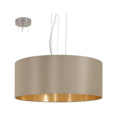 Lampa wisząca Eglo Maserlo 31607 z abażurem 3x60W E27 cappucino/złoty fi53