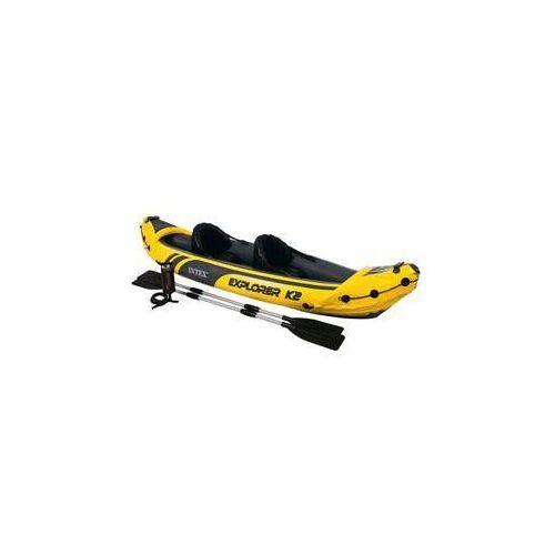 Kajak  explorer k2, dwuosobowy czarny/żółty marki Intex