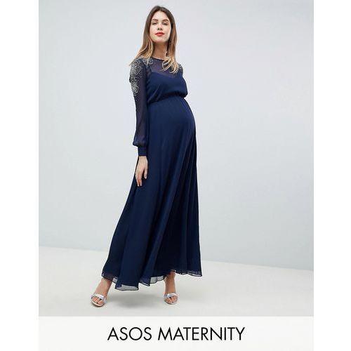 Asos maternity Asos design maternity sheer sleeve maxi dress with embellished shoulder detail - navy