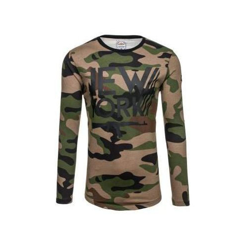 Bluza męska bez kaptura z nadrukiem moro-khaki denley 0742 marki Athletic