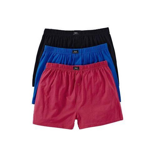 Bonprix Luźne bokserki czarny + niebieski + czerwony