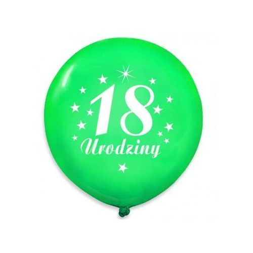 """Dp Balony pastelowe z nadrukiem """"18 urodziny"""" - zielone - 30 cm - 5 szt."""