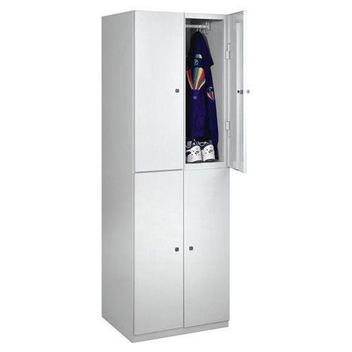 Szafa z półkami, 4 półki, 1800x600x500 mm, drzwi jasnoszare. Solidna, spawana ko