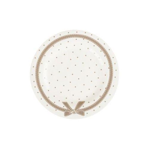 Mondex Talerz deserowy kokarda na ciasto ceramika beżowy