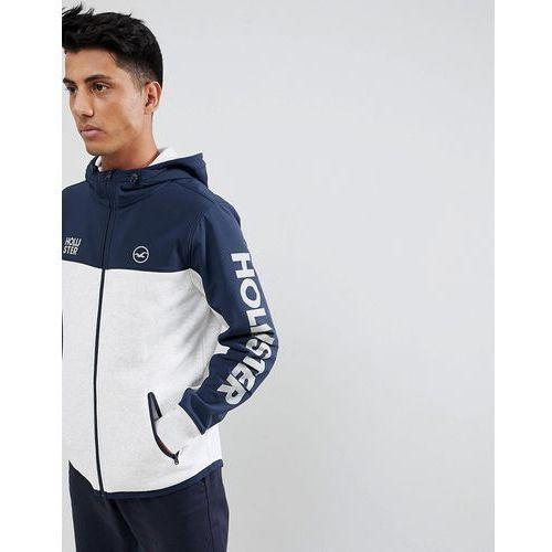 Hollister icon logo nylon hybrid full zip hoodie sleeve in silver grey/navy - grey