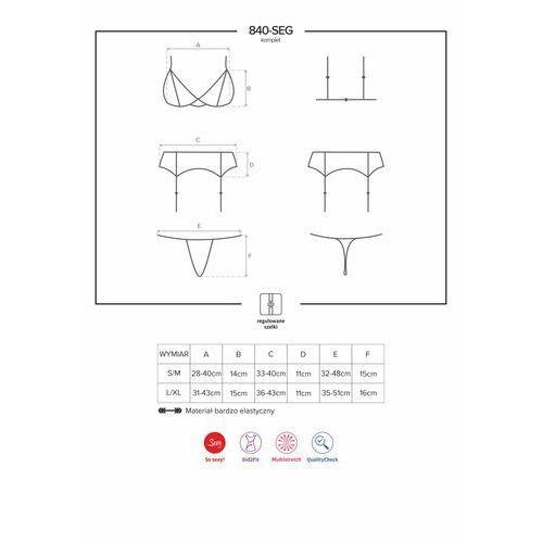 Komplet koronkami zdobiony – 840-seg-1 set 3 części black l/xl marki Obsessive