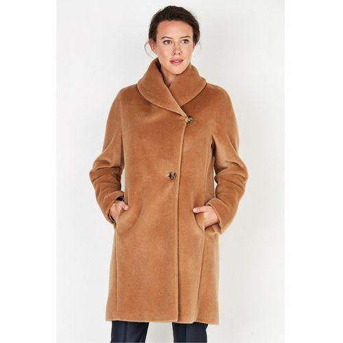 Beżowy płaszcz z suri alpaki z szalowym kołnierzem - Patrizia Aryton
