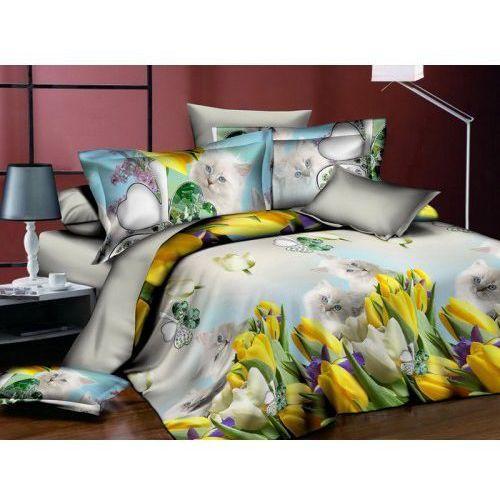 Cotton world Pościel bawełniana kotki na tle kwiatów 160x200 3 cz. msp 901-05