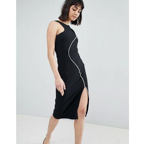 contrast piping bodycon midi dress - black marki River island