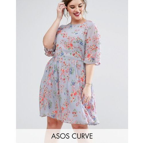 premium pretty skater dress with sheer fluro floral embroidery - multi marki Asos curve
