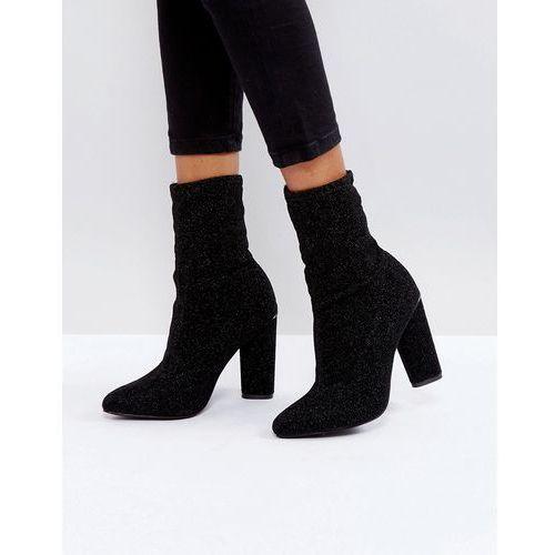 Glamorous Black High Sock Heeled Ankle Boots - Black, kolor czarny