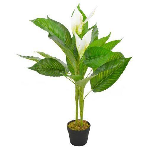 vidaXL Sztuczna roślina anturium z doniczką, biały, 90 cm