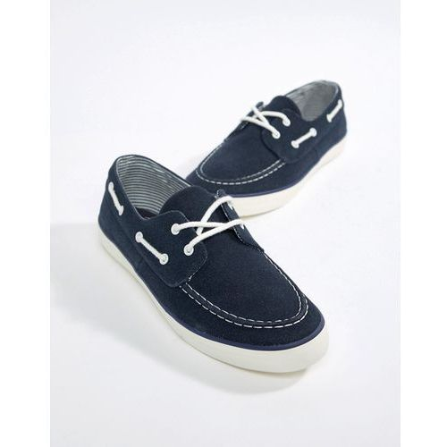 River Island Faux Suede Boat Shoe In Navy - Navy