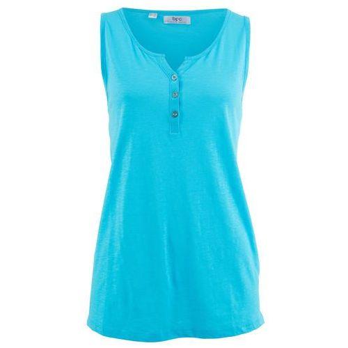 Shirt bawełniany z przędzy mieszankowej, bez rękawów jasny niebieski, Bonprix, 36-58