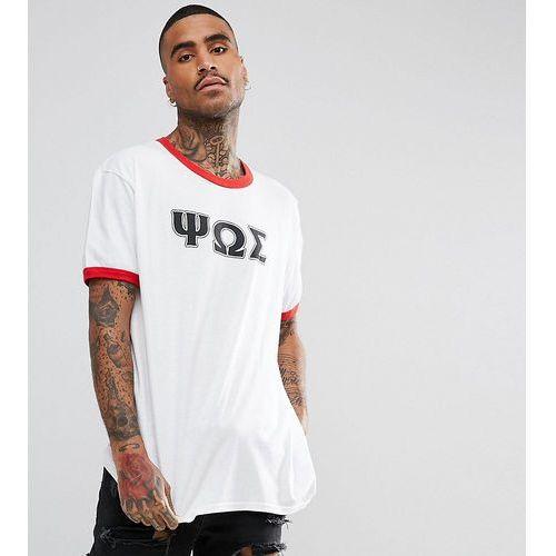inspired ringer t-shirt in white with varsity print - white marki Reclaimed vintage
