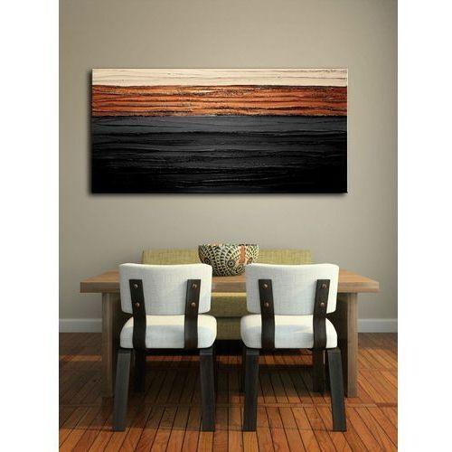 Bardzo elegancki obraz do salonu grubo fakturowany - czerń i miedź