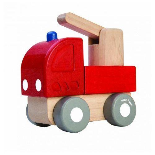 Drewniane mini autko - straż pożarna z ruchomym podnośnikiem,  marki Plan toys