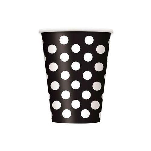 Kubeczki urodzinowe czarne w białe kropki - 355 ml - 6 szt.