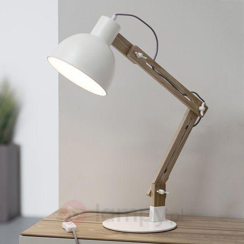Brilliant elias lampa stołowa biały, ciemne drewno, 1-punktowy - nowoczesny - obszar wewnętrzny - elias - czas dostawy: od 4-8 dni roboczych