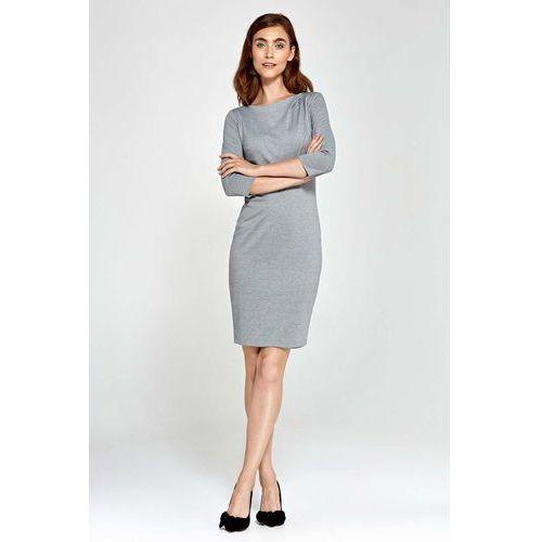 Szara Sukienka Ołówkowa z Asymetrycznym Drapowaniem, NS88gy