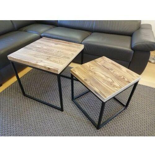 Reqube Zestaw stolików kawowych loft duo1 stare drewno szczotkowane