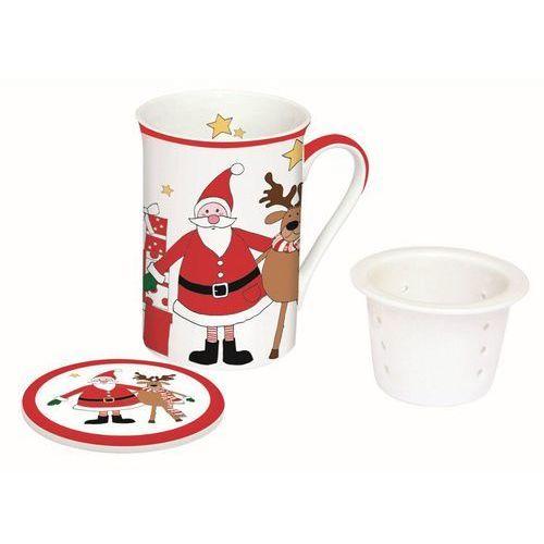 kubek z zaparzaczem santa&friends i porcelana 250ml, 250ml marki Dekoria