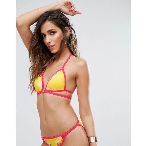 mix & match multi strap summer floral bikini top - yellow, River island