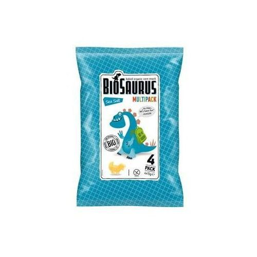 Chrupki kukurydziane z solą morską bezglutenowe BIO 4x15 - Biosaurus (8588004638617)