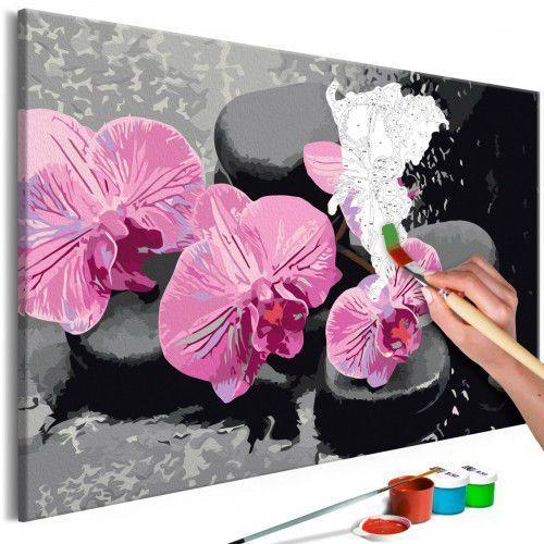 Obraz do samodzielnego malowania - orchidea i kamienie zen (czarne tło) marki Artgeist