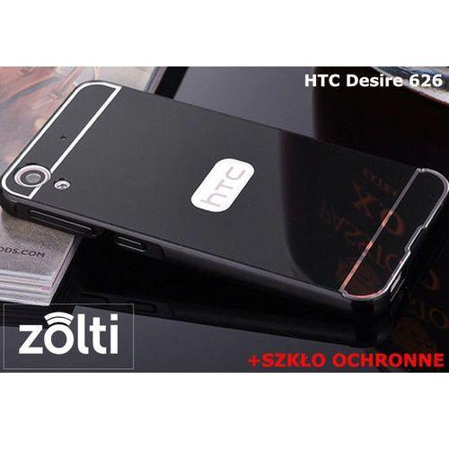 Zestaw   Mirror Bumper Metal Case Czarny + Szkło ochronne Perfect Glass   Etui dla HTC Desire 626
