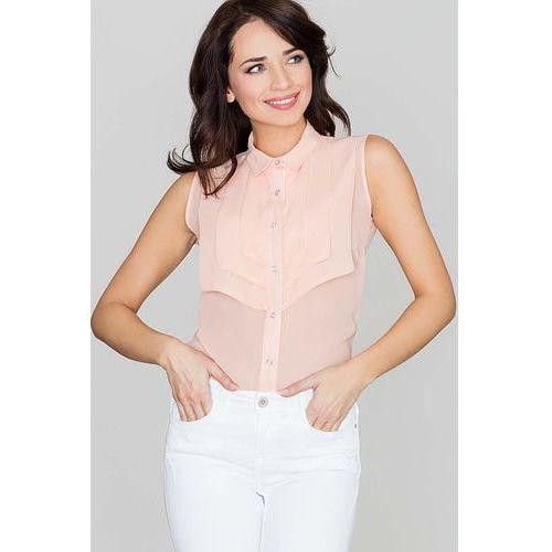 Koszulowa Różowa Bluzka bez Rękawów z Ozdobnym Karczkiem, KK378pi