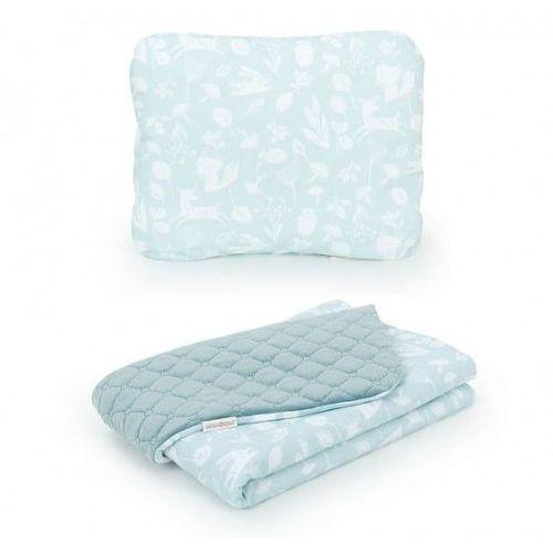 Komplet kocyk dla dzieci velvet pikowany 75x100 + poduszka - las pistacjowy - khaki marki Mamo-tato