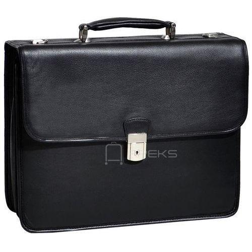 """McKlein Ashburnteczka skórzana / torba na laptopa 15,4"""" / czarna - czarny"""