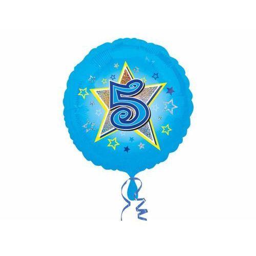 Balon foliowy niebieski gwiazda z piątka - 47 cm