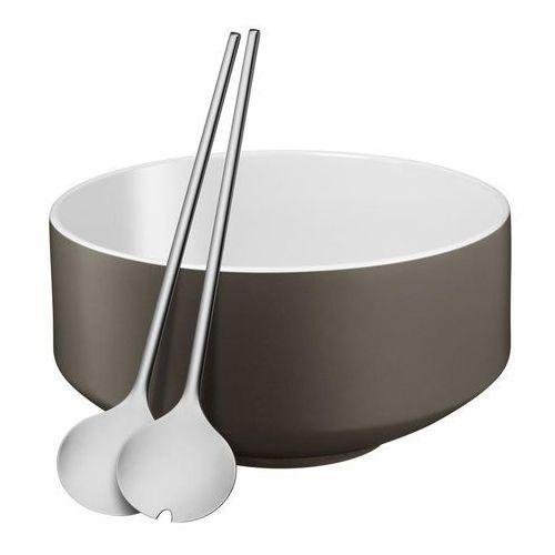 - zestaw do sałatek: miska+sztućce, szary marki Wmf