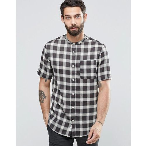 check shirt in grey with grandad collar in regular fit - brown marki River island
