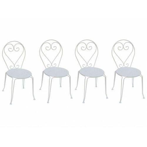 Zestaw 4 krzeseł ogrodowych GUERMANTES z metalu w stylu kutego żelaza– kolor biały