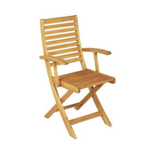 Naterial Krzesło ogrodowe drewniane porto składane z podłokietnikami