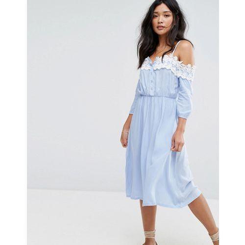 lace edge bardot dress - blue marki Boohoo