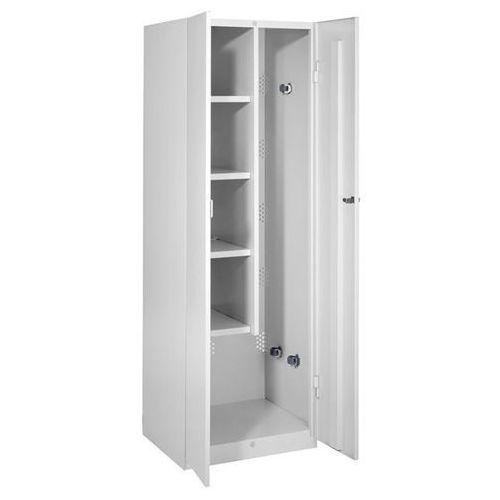 Szafa stalowa, szer. 600 mm, 4 półki, 1 przedział na urządzenia, drzwi jasnoszar