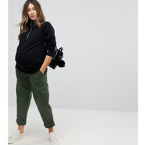 bree causal trousers in green with under the bump waistband - green, Asos maternity