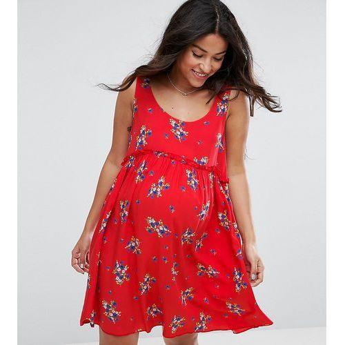 ASOS Maternity Sleeveless Smock Mini Dress in Ditsy Print - Red
