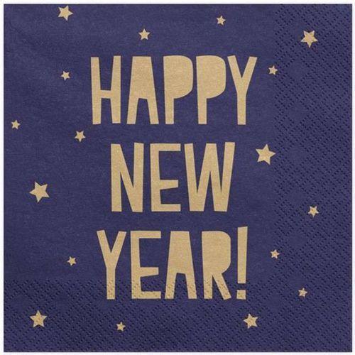 """Partydeco Serwetki """"happy new year"""", granatowe, 33 cm, 20 szt (5902230773943)"""