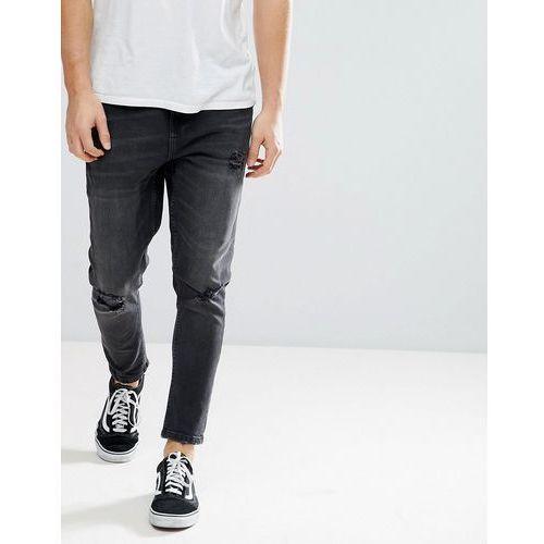 skinny tapered jeans in washed black - black marki Bershka