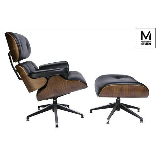 MODESTO fotel LOUNGE z podnóżkiem czarny - sklejka orzech, skóra ekologiczna, T044.BLACK.PU.SET (12375408)
