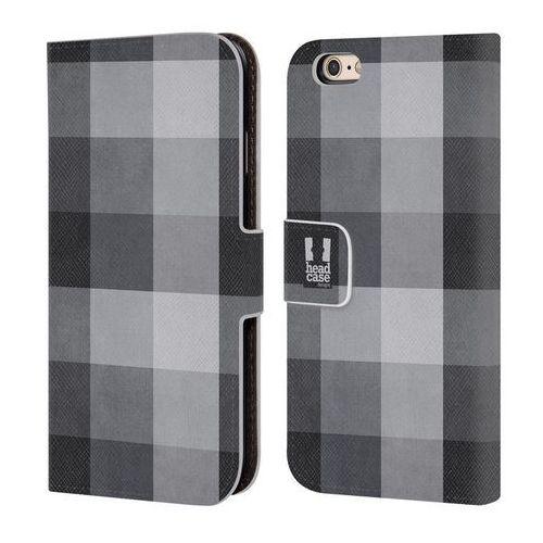 Head case Etui portfel na telefon - plaid pattern black grey