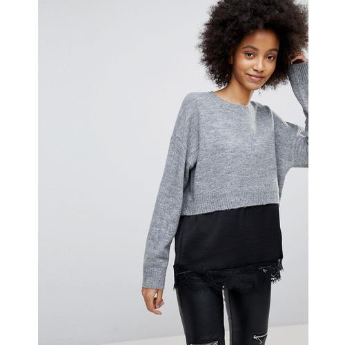 New look satin and lace 2in1 jumper - grey