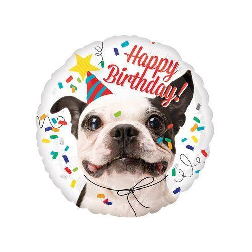 Balon foliowy Happy Birthday z pieskiem - 43 cm - 1 szt.