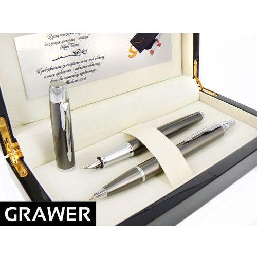 Zestaw  im gun metal ct pióro wieczne i długopis * ekskluzywne etui drewniane * grawer tabliczka dedykacja marki Parker